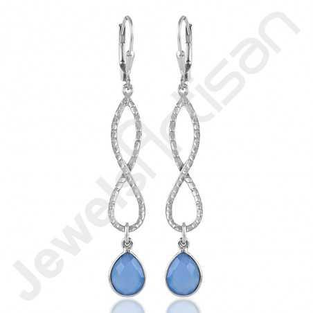 Blue Onyx Earrings 925 Sterling Silver Earrings Infinity Earrings