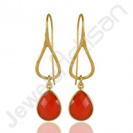 Gold Vermeil Earrings Red Onyx Earrings 925 Solid Silver Earrings