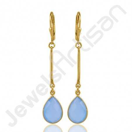 Blue Onyx Earrings 925 Solid Silver Earrings Gold Vermeil Earrings