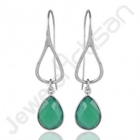 925 Sterling Silver Earrings Green Onyx Earrings Dangle Drop Earrings