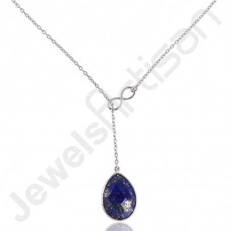 Lapis Lazuli Necklace 925 Sterling Silver Necklace Infinity Chain Necklace