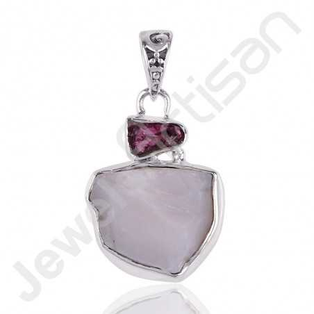 Pink Opal Pendant Rhodolite Pendant 925 Sterling Silver Pendant