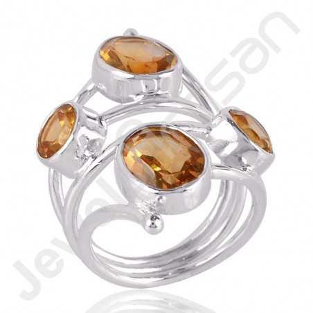 Citrine Gemstone Ring Designer Ring 925 Sterling Silver Ring