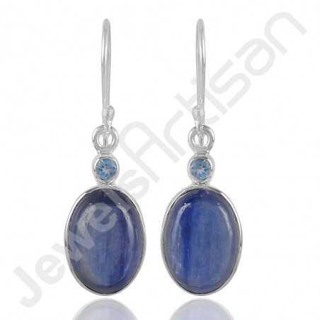 Kyanite Earrings Swiss Blue Topaz Earrings 925 Sterling Silver Earrings