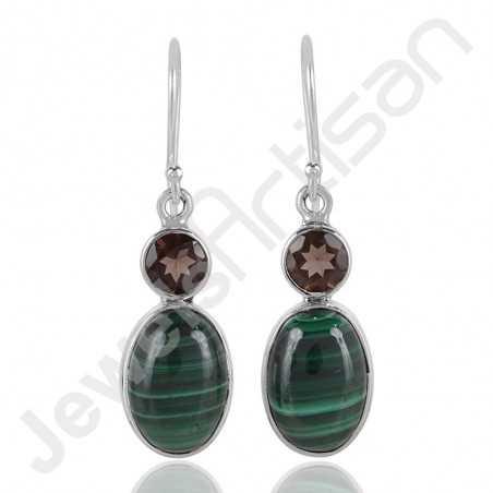 Malachite Earrings Smoky Quartz Earring 925 Sterling Silver Earrings