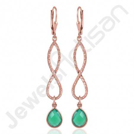 Green Onyx Earring 925 Sterling Silver Earring Rose Gold-Plated Earrings