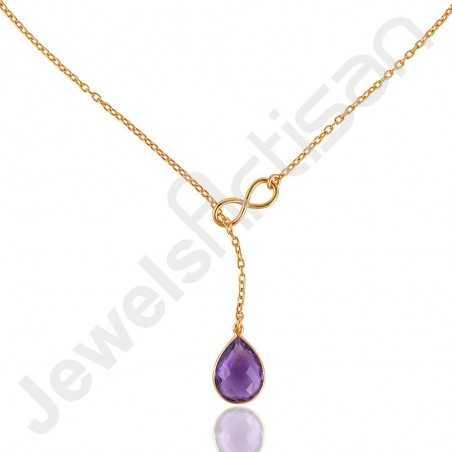 Amethyst Gemstone Necklace Gold Vermeil Necklace 925 Sterling Silver Necklace