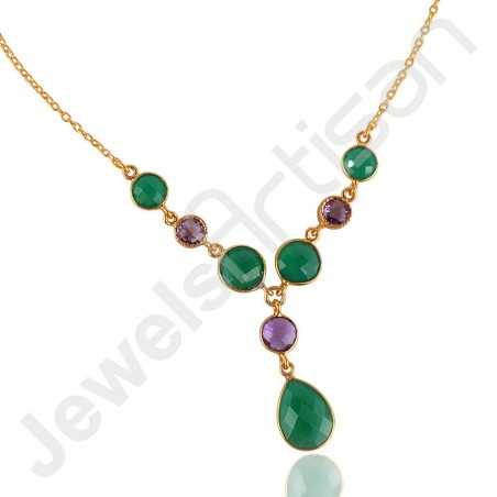 Green Onyx Necklace Amethyst Necklace Gold Vermeil Necklace
