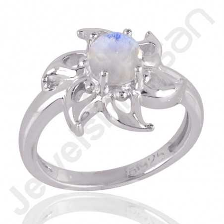 925 Sterling Silver Ring Rainbow Moonstone Ring Handcrafted Ring