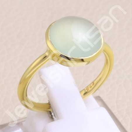Gold Vermeil Ring Prehnite Ring 925 Sterling Silver Ring