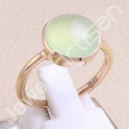 Prehnite Ring 925 Sterling Silver Ring Rose Gold-Plated Ring