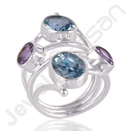 Sky Blue Topaz Ring Amethyst Ring 925 Sterling Silver Ring