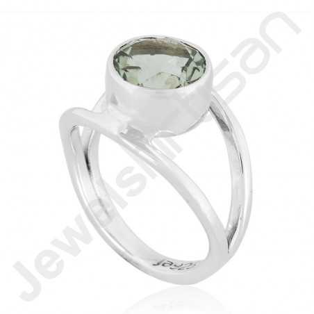 Green Amethyst Ring 925 Sterling Silver Ring Classic Solitaire Gemstone Ring