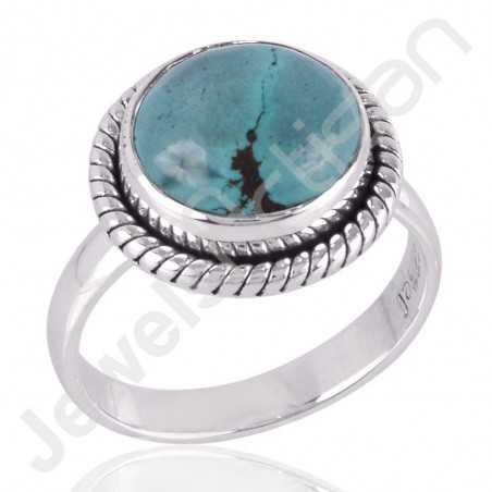 Tibetan Turquoise Ring 925 Sterling Silver Ring Natural Gemstone Ring