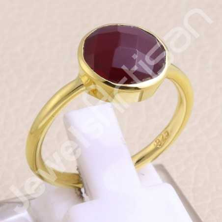 925 Sterling Silver Ring Gold Vermeil Ring Red Quartz Ring