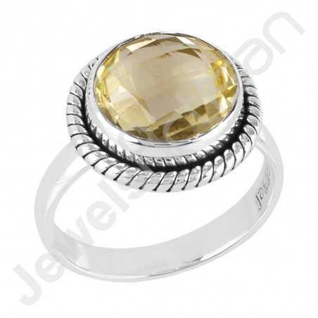 Lemon Quartz Ring 925 Sterling Silver Ring Solitaire Silver Ring