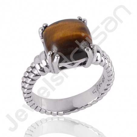 Tiger Eye Gemstone Ring 925 Sterling Silver Ring Handcrafted Silver Ring