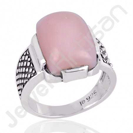Natural Pink Opal Ring Oxidized Silver Ring 925 Sterling Silver Ring