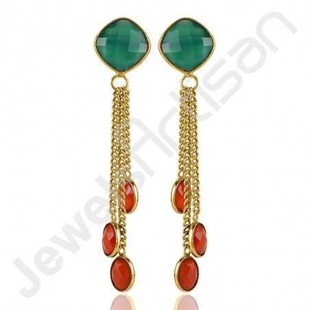 Green Onyx Earrings Red Quartz Earrings 18 K Gold-Plated Earrings