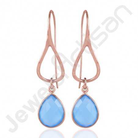 Blue Onyx Earrings 925 Sterling Silver Earrings Rose Gold Earrings
