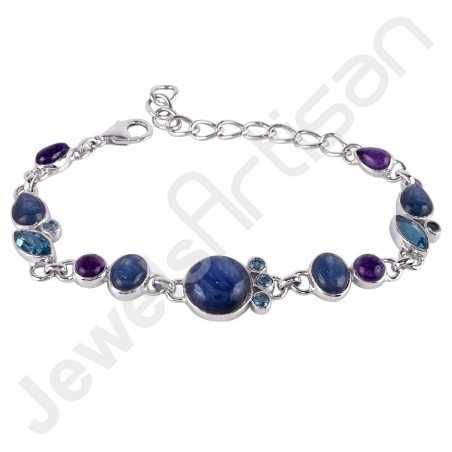 Kyanite Gemstone Bracelet Swiss Blue Topaz Bracelet 925 Sterling Silver Bracelet