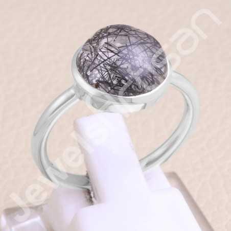 Tourmalinated Quartz Ring 925 Sterling Silver Ring Handmade Ring