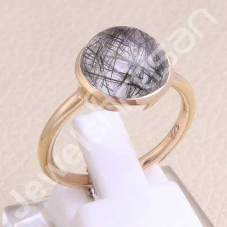 Rose Gold-Plated Ring Tourmalinated Quartz Ring 925 Sterling Silver Ring