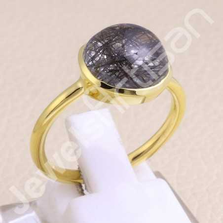 Tourmalinated Quartz Ring Gold Vermeil Ring 925 Solid Silver Ring