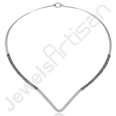 925 Sterling Silver Necklace Collar Necklace Oxidized Silver Necklace