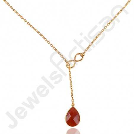 Gold Vermeil Necklace Red Onyx Necklace 925 Solid Silver Necklace