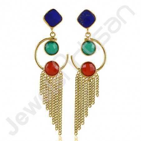 Green Onyx Earring Lapis Lazuli Earring Gold-Plated Earring