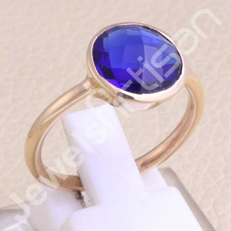 Blue Quartz Ring Rose Gold-Plated Ring 925 Sterling Silver Ring