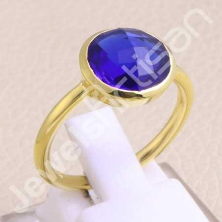 Gold Vermeil Ring Blue Quartz Ring 925 Solid Silver Ring