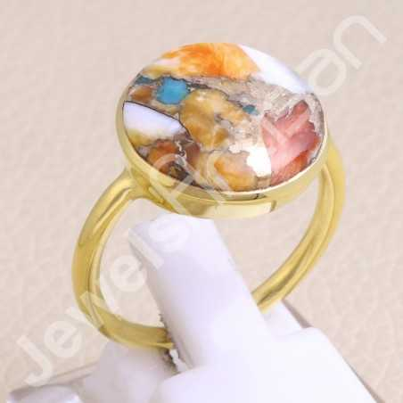 925 Solid Silver Ring Orange Spiny Turquoise Ring Gold Vermeil Ring