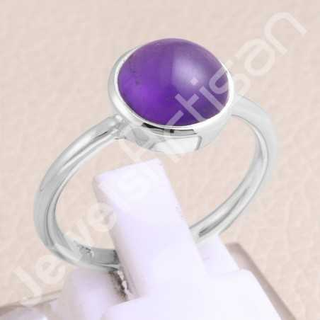Amethyst Ring 925 Sterling Silver Ring Solitaire Gemstone Ring
