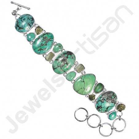 Tibetan Turquoise Bracelet Pyrite Bracelet 925 Sterling Silver Bracelet
