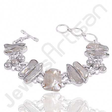 Biwa Pear Bracelet White Pearl Bracelet 925 Sterling Silver Bracelet