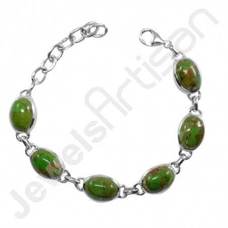 Mohave Green Copper Turquoise Bracelet 925 sterling Silver Bracelet Handmade Bracelet