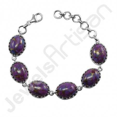 Purple Copper Turquoise Bracelet 925 sterling Silver Bracelet Kingman Turquoise Bracelet