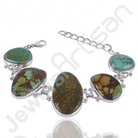 Tibetan Turquoise Bracelet 925 sterling Silver Bracelet Designer Bracelet