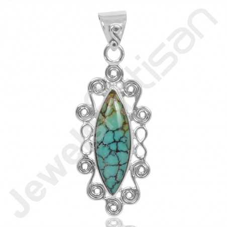 Tibetan Turquoise Pendant 925 Sterling Silver Pendant Designer Pendant