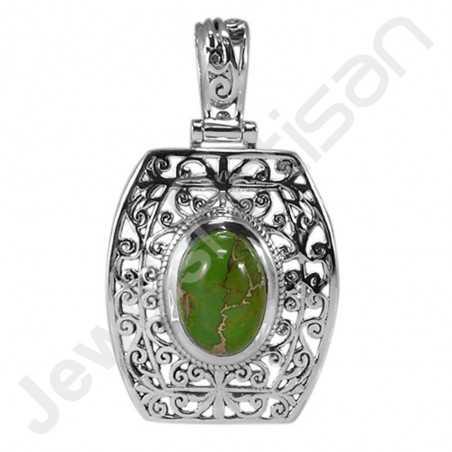 Green Copper Turquoise Pendant 925 Sterling Silver Pendant Statement Pendant
