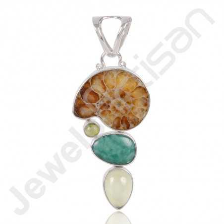 Madagascar Ammonite Pendant 925 Sterling Silver Pendant Multi-Gemstone Pendant