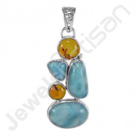 Larimar Gemstone Pendant Amber Pendant 925 Sterling Silver Pendant