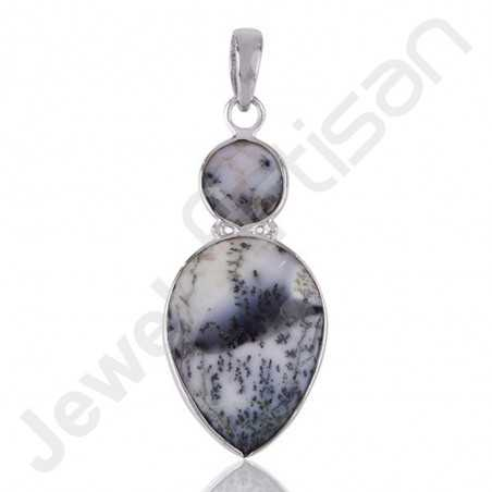 Dendritic Opal Pendant Drop Pendant 925 Sterling Silver Pendant