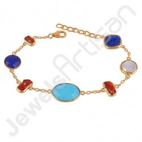 Arizona Turquoise Bracelet Gold Vermeil Bracelet 925 Sterling Silver Bracelet