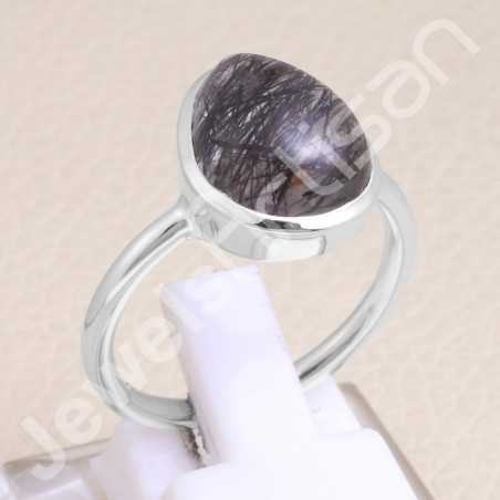 925 Sterling Silver Tourmalinated Quartz Ring Ring Classic Solitaire Ring