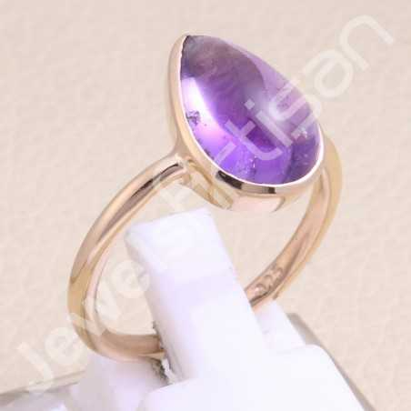 Rose Gold Plated Ring Amethyst Ring 925 Sterling Silver Ring