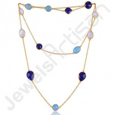 Lapis Lazuli Necklace Blue Onyx Necklace Gold Vermeil Necklace