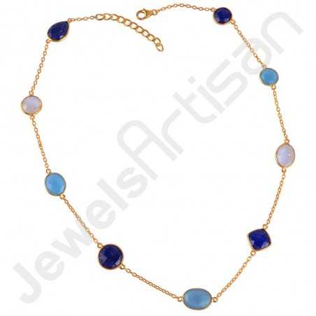 Gold Vermeil Necklace Rainbow Moonstone Necklace Blue Onyx Necklace